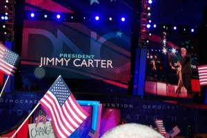 Former President Jimmy Carter and his wife made an appearance on Monday night.