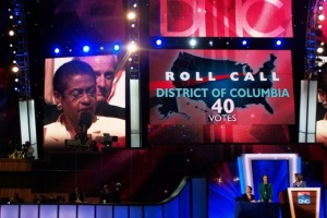 Delegate Eleanor Holmes Norton announces the delegation's vote